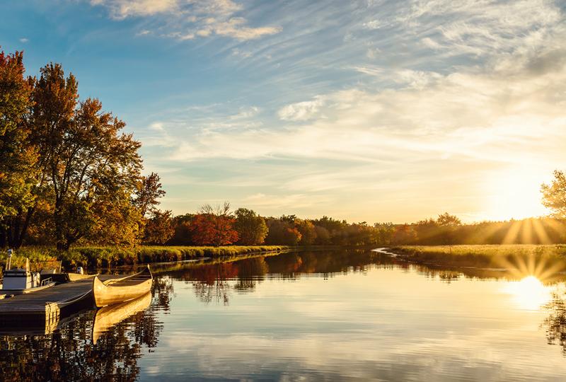 sunrise calm lake