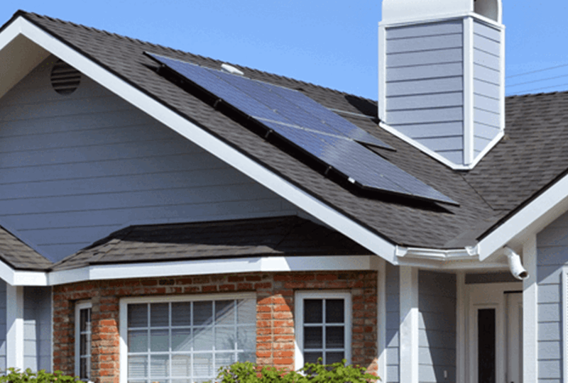 An energy-efficient house with solar panels