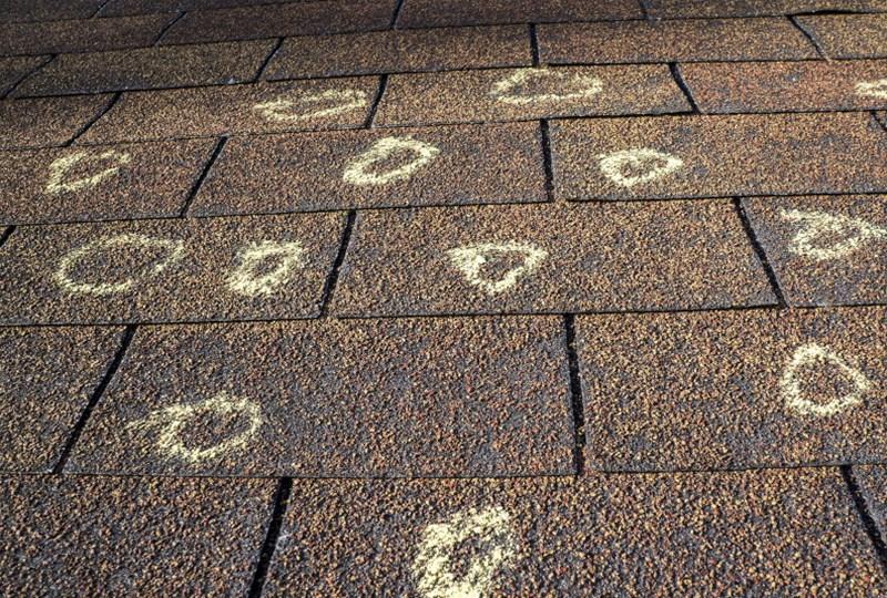 Hail damage on roof