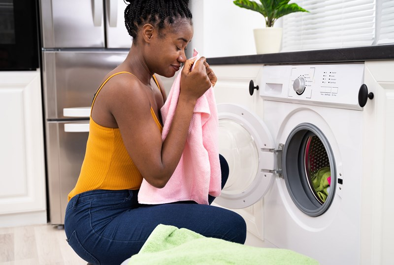 A woman washing her laundry